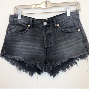 Free People | Black Denim Cut Off Shorts